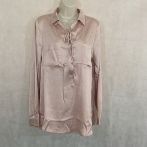 Jodifl Blush Pink Satin Tunic Blouse